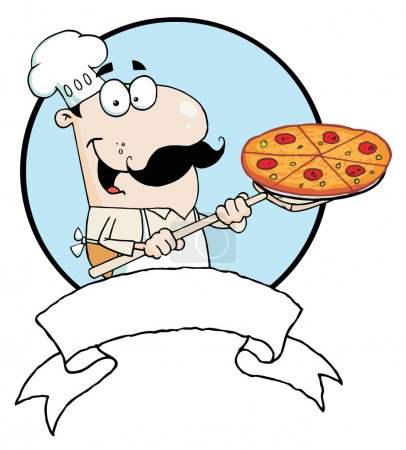 Cartoon Proud Chef Inserting A Pepperoni Pizza