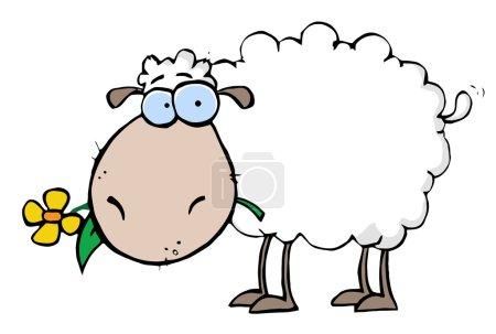 Photo pour Blanc mouton transportant A fleur dans sa bouche, isolé sur fond blanc - image libre de droit