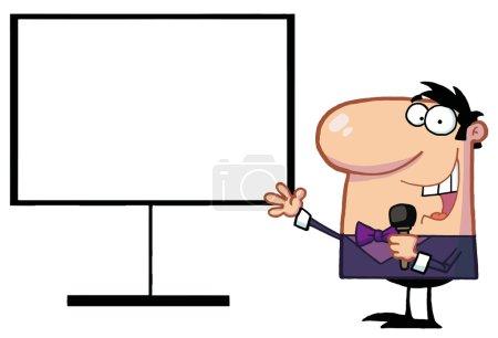 Talk Show Host Beside A Blank Board