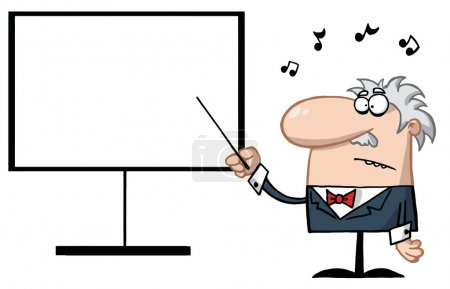 Music Teacher Pointing To A Blank Board