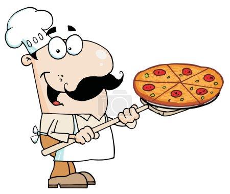 Foto de Chef caucásico feliz llevando un pastel de pizza en una pala de la estufa - Imagen libre de derechos