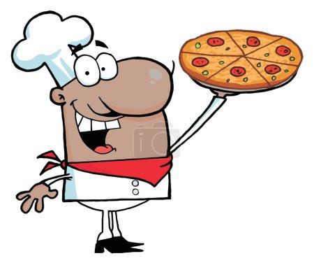Foto de Feliz Chef Hispano Presentando Su Pastel de Pizza - Imagen libre de derechos