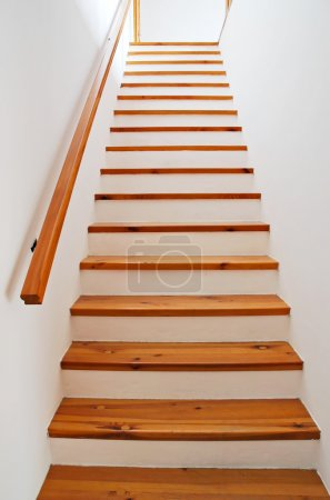 Photo for Interior - wood stairs and handrail - Royalty Free Image