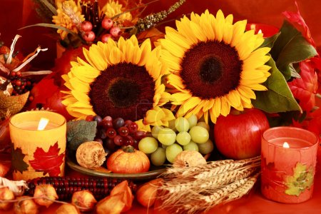 Photo for Still life and harvest or table decoration for Thanksgiving - Royalty Free Image