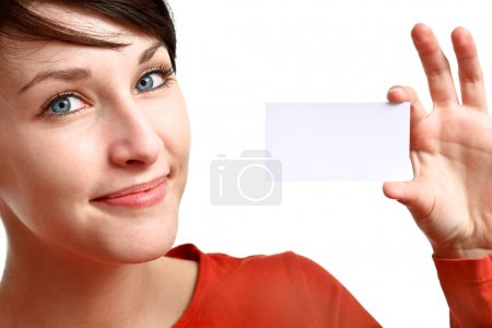 Girl showing business card