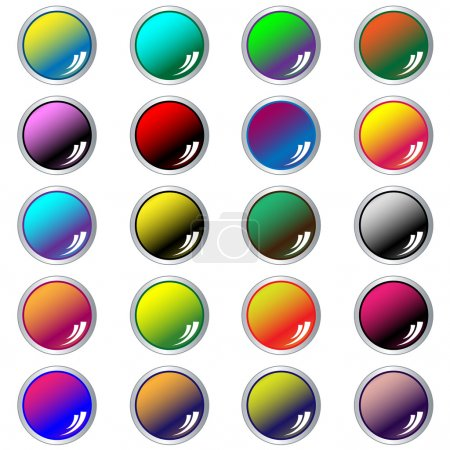 Round web buttons assorted colors