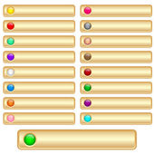 Web buttons gold and shiny with bright assorted colored round glossy inserts Scalable Isolated on white