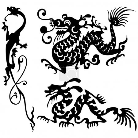 Illustration for Tattoo of dragons. - Royalty Free Image