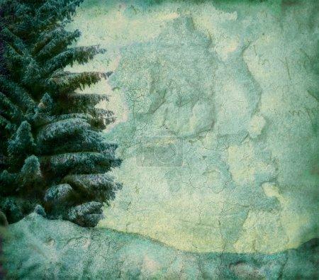 Photo pour Image grunge de sapins en hiver, illustration photo - image libre de droit