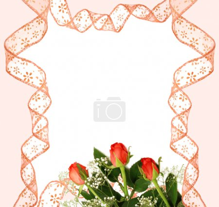 Pink ribbon frame with roses