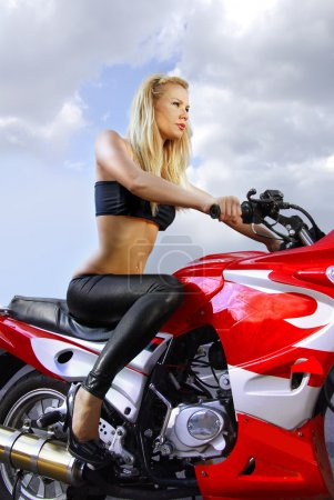 Pretty blonde on a motorcycle