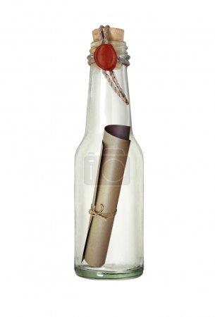 Photo pour Message dans la bouteille avec la cire à cacheter - image libre de droit