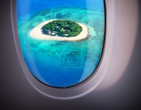 Photo for Beautiful sea view from the window of plane - Royalty Free Image