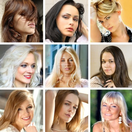 Photo for Photo collage of beautiful faces of many women - Royalty Free Image