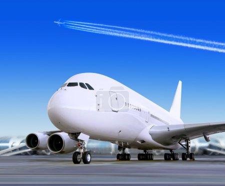 Big passenger airplane in airport
