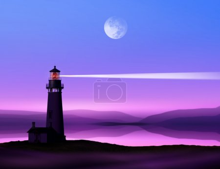 Photo for Romantic lighthouse near Atlantic seaboard shining at night in the bright of the moon - Royalty Free Image