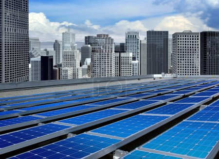 Photo for Solar panels on the roof of modern skyscraper - Royalty Free Image