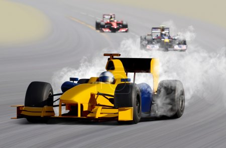 Photo for Breakdown of formula one race car on speed track - Royalty Free Image