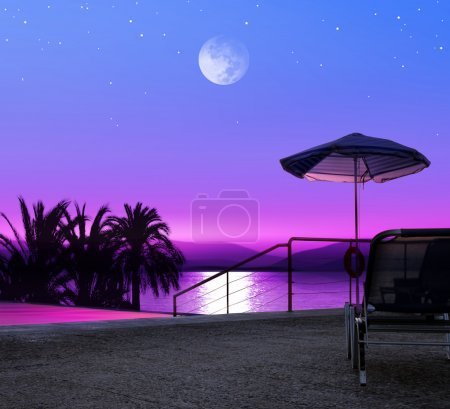 Moon night on beach of Greece, luxurious resort