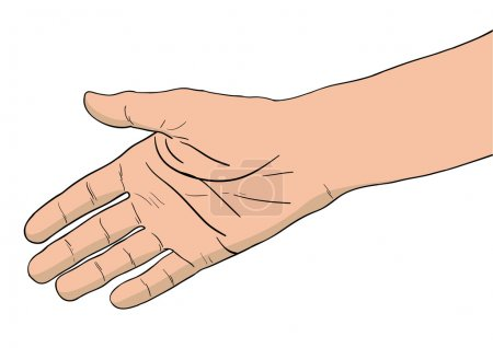 Illustration pour Main droite isolée sur le blanc - image libre de droit