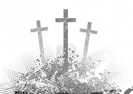 Illustration for Abstract golgotha with three cross - Royalty Free Image
