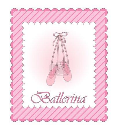 Vector ballerina pink card
