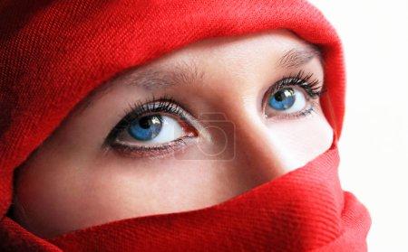 Blue eyes arabic woman