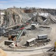Belt conveyors and mining equipment in a quarry...