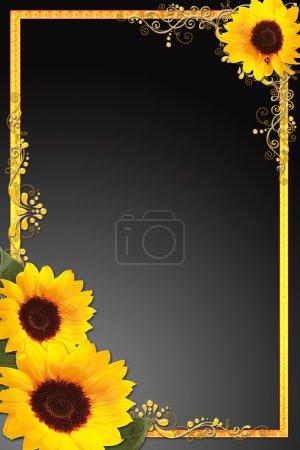 Photo pour Une bordure avec tournesols et cadre doré - image libre de droit