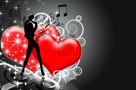 Photo pour Silhouette de fille sur fond sombre avec des cœurs, étoiles, musique, ville, lignes - image libre de droit
