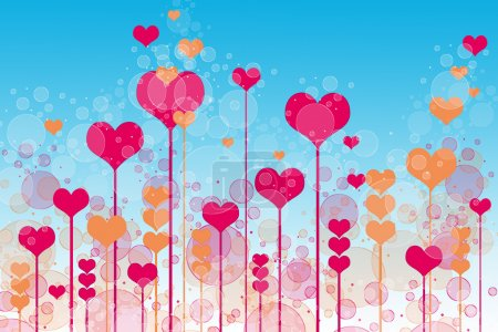 Background with hearts and bubbles on sky