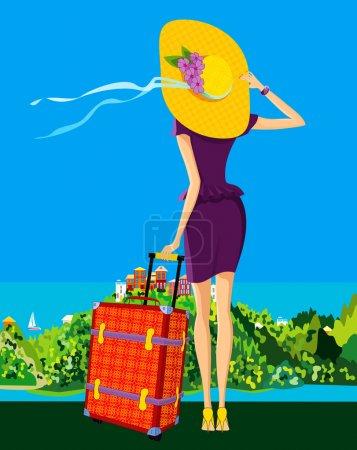 Illustration pour La jeune fille admire la région où elle passera ses vacances - image libre de droit