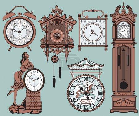 Illustration for A set of elegant antique clocks - Royalty Free Image