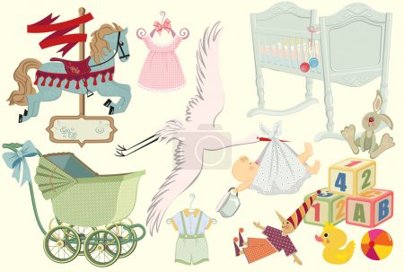 Illustration for Baby retro collection for art - Royalty Free Image
