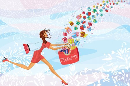 Illustration for Girl catches gifts falling from the sky - Royalty Free Image