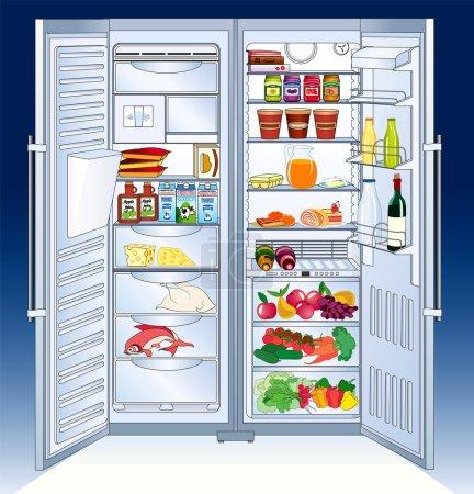Open big refrigerator - vector illustration...