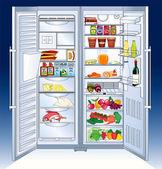 Open big refrigerator - vector illustration