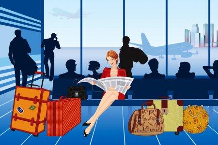 Illustration pour Belle femme lisant un journal et attendant son avion à l'aéroport - image libre de droit