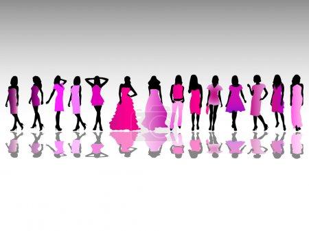 Photo pour Illustration vectorielle de filles de mode - image libre de droit