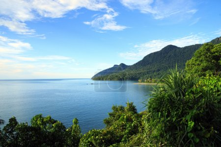Coast of peninsula Santubong with a view of the se...
