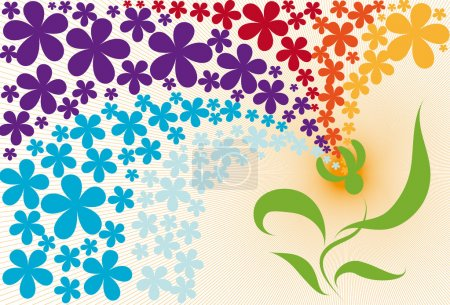 Illustration for Bright spring background with fancy plant - Royalty Free Image