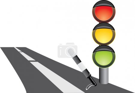 Traffic-light and rod. Fragment of road