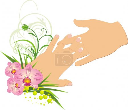 Illustration for Womanish and masculine hands. Romantic composition. Vector illustration - Royalty Free Image