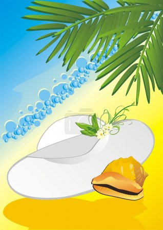 Illustration for Hat and cockleshell among the branches of palms. Vector illustration - Royalty Free Image