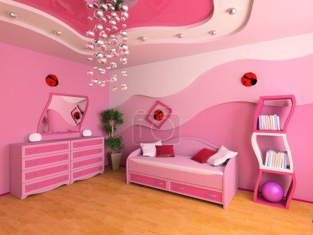 Photo pour Chambre rose pour enfants avec un canapé image 3d - image libre de droit