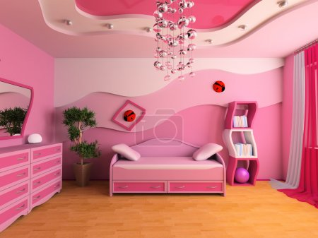 Photo for Pink children's room with a sofa 3d image - Royalty Free Image