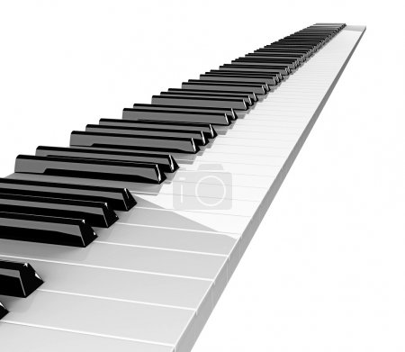 Photo for Diagonal stripe of piano keys isolated on white - Royalty Free Image