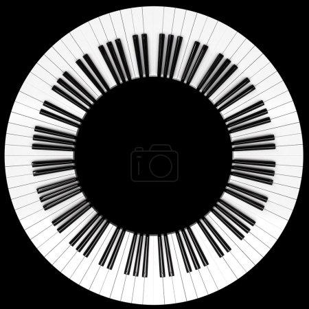 Photo pour Une roue à touches piano isolée sur noir - image libre de droit