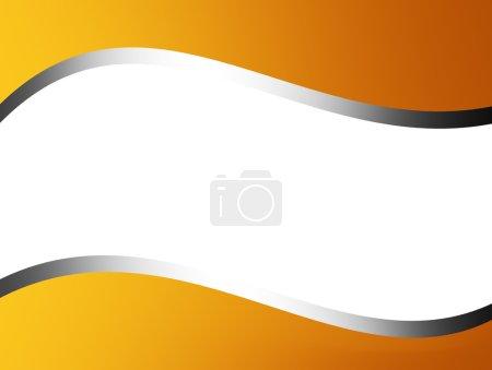 Photo pour Fond blanc avec cadre jaune et ruban doré à travers - image libre de droit