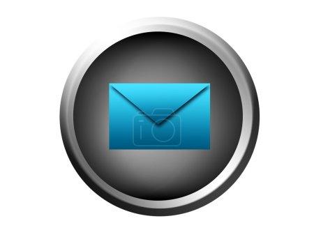 Photo pour Bouton gris avec enveloppe bleue signe sur fond blanc - image libre de droit